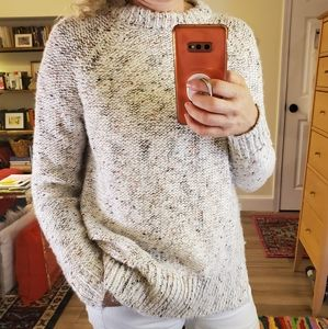 Cozy speckled cream knit sweater